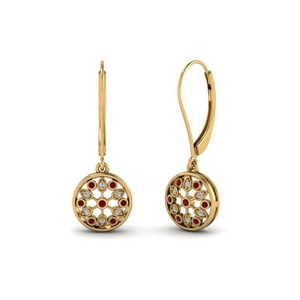 antique floral drop dangle diamond earring with ruby in 14K yellow gold FDEAR8677GRUDR NL YG