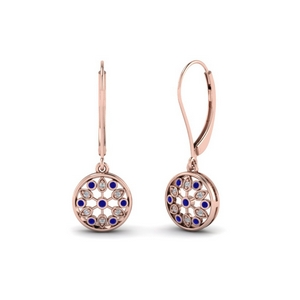 antique floral drop dangle diamond earring with sapphire in 14K rose gold FDEAR8677GSABL NL RG