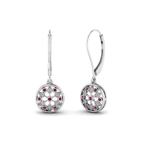 Flower Pink Sapphire Dangle Earring