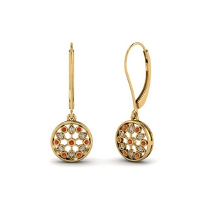 antique floral drop dangle diamond earring with orange sapphire in 18K yellow gold FDEAR8677GSAOR NL YG