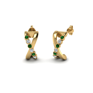 18K Gold Emerald Stud Earring