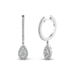 pear halo drop hoop diamond earring in FDEAR68661 NL WG