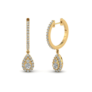 Pear Halo Hoop Diamond Earring