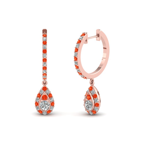 Hoop Earring Orange Topaz