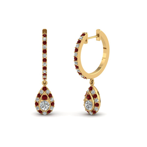 Pear Halo Ruby Drop Earring
