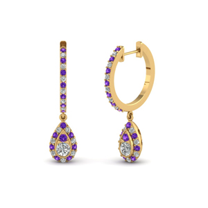 Gold Purple Topaz Drop Earring
