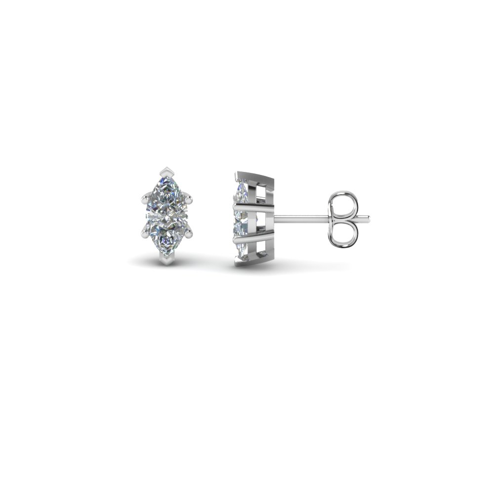 Marquise Shaped Diamond Stud Earrings In 14k White Gold Fdear6mq Nl Wg