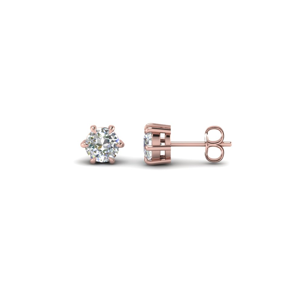 Round Cut Diamond Stud Earrings In 14k Rose Gold Fdear6ro50ct Nl Rg