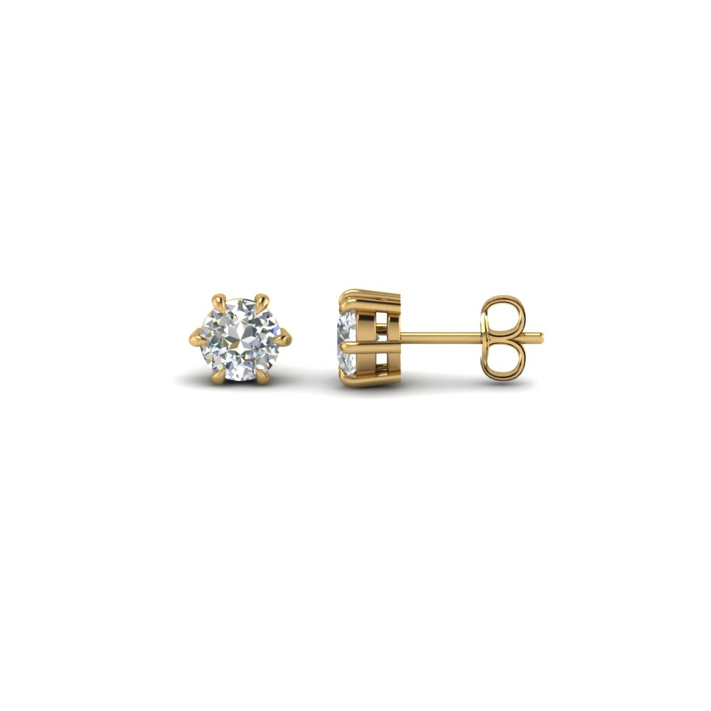 Round Cut Diamond Stud Earrings In 18k Yellow Gold Fdear6ro50ct Nl Yg