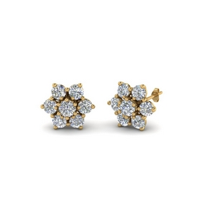 7 Stone Diamond Stud Earring