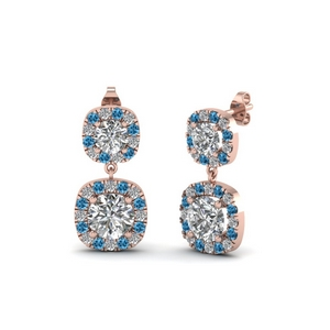 Halo Drop Earring With Topaz