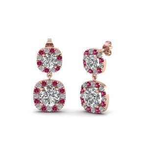 Halo Drop Earring With Pink Sapphire