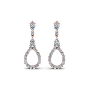 teardrop diamond earring for women in 14K rose gold FDEAR8106ANGLE1 NL RG