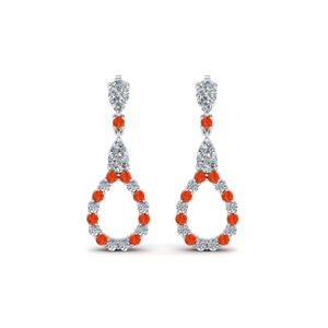 Teardrop Earring With Orange Topaz