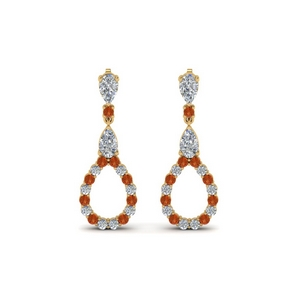 Drop Earring Orange Sapphire For Women