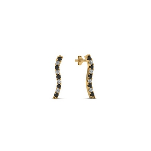 Curved Line Black Diamond Earring