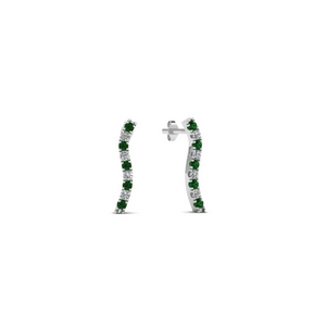 Emerald Curved Line Earring