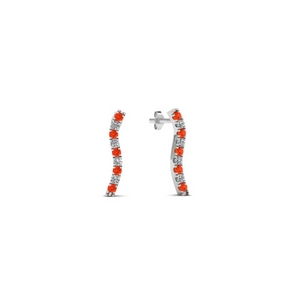 Orange Topaz Curved Line Earring