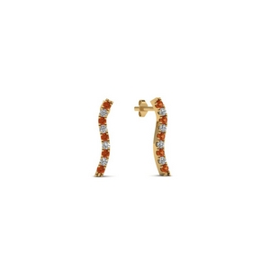 Yellow Gold Orange Sapphire Earring
