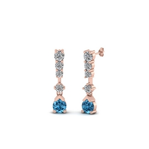 5 Stone Drop Earring With Topaz
