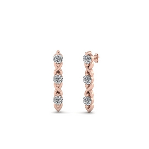 Diamond 3 Stone Stud Earring