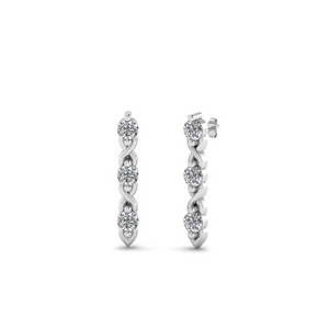 Twisted 3 Stone Stud Earring