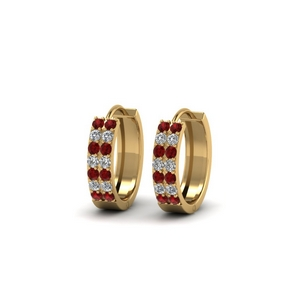 2 Row Small Hoop Earring With Ruby