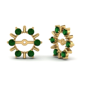 Halo Earring Jackets With Emerald