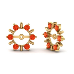 Delicate Orange Topaz Ear Jackets