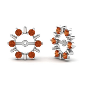 Orange Sapphire Halo Earring Jackets