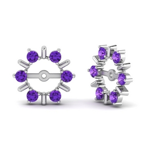 Earring Jackets With Purple Topaz