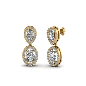 Gold Halo Diamond Earring