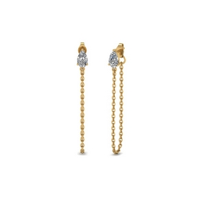 14K Yellow Gold Chain Drop Earring