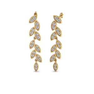 Leaf Drop Pave Earring