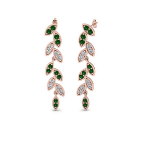 Pave Emerald Drop Earring