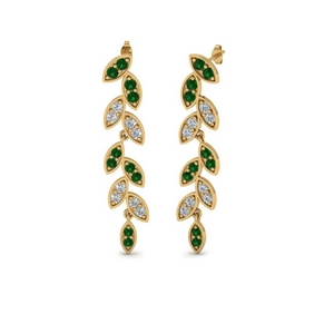 Pave Emerald Leaf Drop Earring