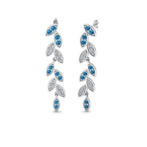 Platinum Blue Topaz Drop Earring