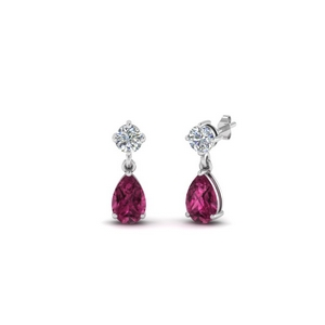 Small Pink Sapphire Drop Earring