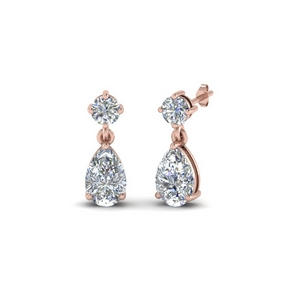 pear drop diamond earring in 14K rose gold FDEAR8386 NL RG