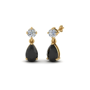 Black Diamond Pear Earring