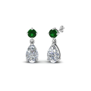 Emerald Pear Drop Earring