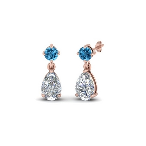 Pear Drop Diamond Earring With Topaz