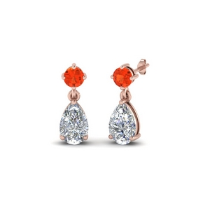 Orange Topaz Pear Drop Earring