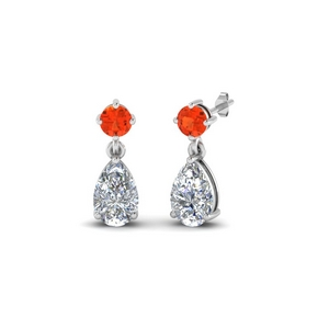 White Gold Orange Topaz Drop Earring