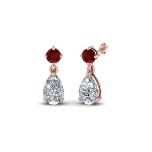 Pear Diamond With Ruby Drop Earring