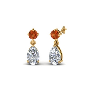 Orange Sapphire Earring For Women