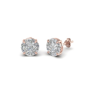 invisible set round diamond stud earring in 14K rose gold FDEAR8388 NL RG
