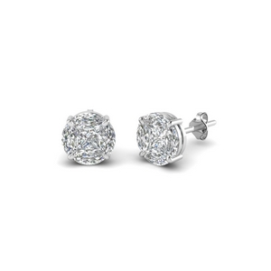 invisible set round diamond stud earring in 18K white gold FDEAR8388 NL WG