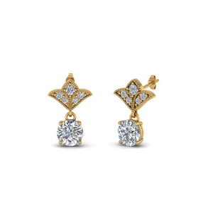 1 Ct. Round Art Deco Design Earring