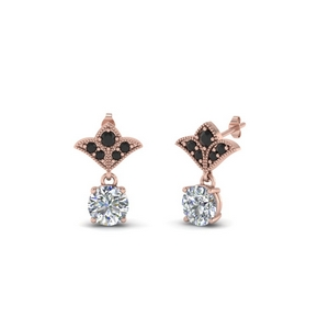 Rose Gold Black Diamond Earring